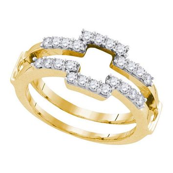 14kt Yellow Gold Womens Round Diamond Square Wrap Ring Guard Enhancer Wedding Band 1/2 Cttw