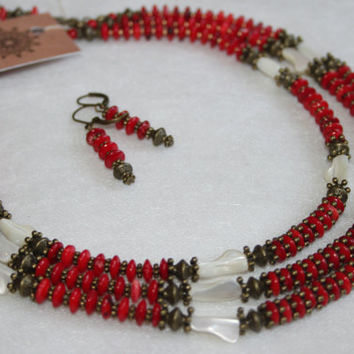 Modern Ethnic coral necklace. Red coral multi strand beaded necklace Exclusive coral jewelry Nraditional Ukrainian coral jewelry KUNZHUT