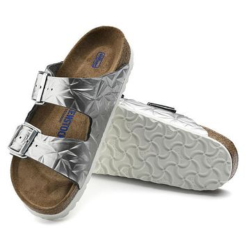 Best Online Sale Birkenstock Arizona Soft Footbed Leather Spectral Silver 1008479/1008