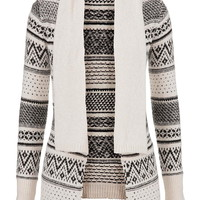 Patterned Sweater With Collar - Beige