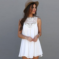 Tassel Solid White Mini Lace Dress Summer Dress 2016 Sexy Women Casual Sleeveless Beach Short Dress Vestidos Plus Size