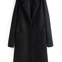 Long Sleeve Notched Collar Woolen Long Coat