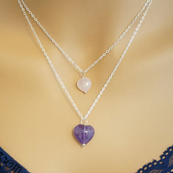 Layered Necklace Amethyst Heart Necklace Sterling Silver Rose Quartz  Necklace Amethyst  Necklace Layering Stone Necklace