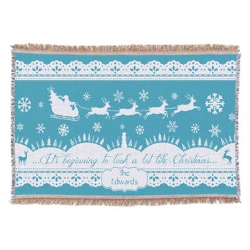 Custom Christmas Santa & Deer Throw Blanket Aqua