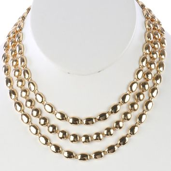 Gold Multi Strand Layered Metal Chain Necklace