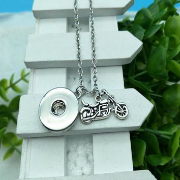 Hot Antique Silver Motorcycle Charm Beauty Round Button 60cm Chain Necklace Fit DIY 18MM Snap Buttons Jewlery K283