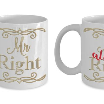 Mr Right Mrs Always Right couples coffee mug set
