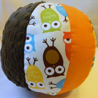 Stuffed Owl Ball - Brown Minky, Multi Stripes, Sparkle Orange, Urban Zoologie Owls