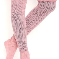 knit over the knee sock with scrunched cuff
