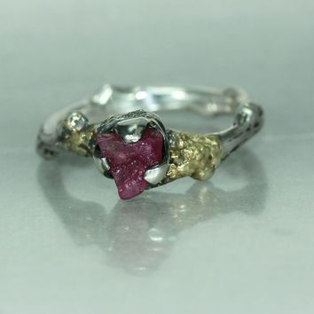A Gold Silver Ruby Organic Alternative Statement Engagement Woman's Twig Branch Ring Band