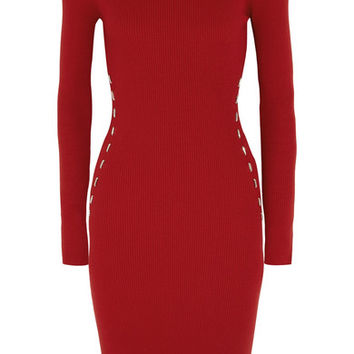 Mugler - Embellished ribbed-knit dress