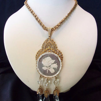 MIRIAM HASKELL Necklace Etched Flower Crystal Glass Bead Gold Plate Chain Pendant