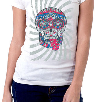 Sugar Skull Shirt | Womens Graphic Tees | Skull Shirts | Sublimation Shirts