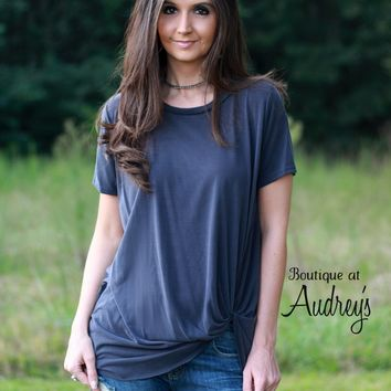 Jodifl Short Sleeve Charcoal Tunic with Twist Detail on Front