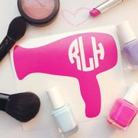 Blowdryer Monogram Decal - Hairstylist Decal - Beautician Decal - Beauty Decal - Monogram Decal - Laptop Decal - Car Decal - Vinyl Decal