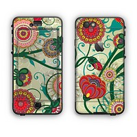 The Vintage Green Floral Vector Pattern Apple iPhone 6 Plus LifeProof Nuud Case Skin Set
