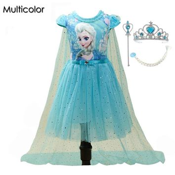 Customs Fashion Girls Children Clothes Anna Elsa Dress Girl Baby Elza Dresses For Girl's Kids Princess Vestidos Infantis Cloth