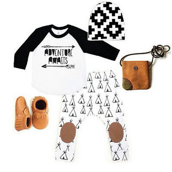 Newborn Baby Boys Girls Long Sleeve Tops + Long Pants Hat Arrow Cotton 3PCS Outfits Set Baby Boy Girl Clothes