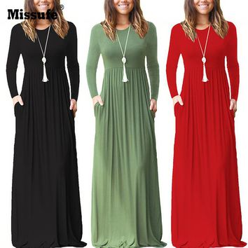 Missufe Autumn Winter Maxi Dress 2018 Casual Round Neck Long Sleeve Pleated Dress With Pocket Brief Solid Long Vestidos