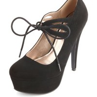 Lace-Up Nubuck Platform Pumps by Charlotte Russe - Black