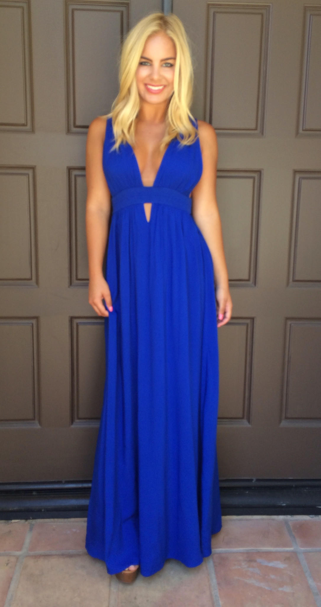 Kenya Cutout Maxi Dress - ROYAL BLUE from Dainty Hooligan