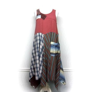Sleeveless Dress, Patchwork Dress, Boho Chic Clothing, Hippie Dress, Lagenlook Style, Shabby Chic Dress, Upcycled Clothing