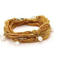 "Ettika ""Vintage Ribbon"" Mustard Wrap Bracelet Gold Pearl Pendant Necklace s: Jewelry: Amazon.com"