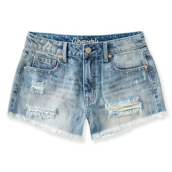 Aeropostale High-Waisted Light Wash Destroyed Denim Shorty Shorts - Light Wash,