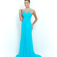 Splash Blue Sheer Beaded High Neck Sweetheart Chiffon Gown
