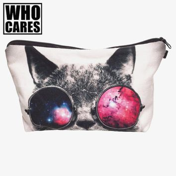 Galaxy sunglasses cat 3D Printing cosmetic bag organizer toiletry bag 2017 pencil makeup bags pouch necessaire makyaj cantasi