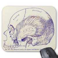 Vintage Anatomy Art Human Temporal Muscle Mouse Pad