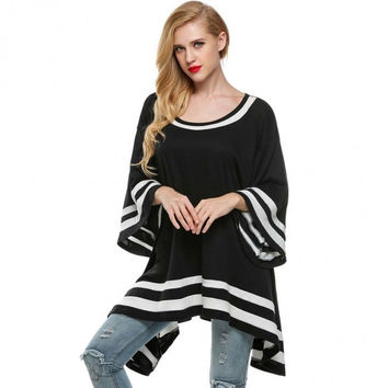 Women Flare Sleeve Loose Irregular Tops Blouse
