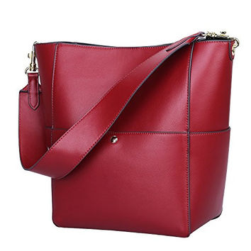 S-ZONE Women's Fashion Vintage Leather Tote Shoulder Bag Handbag Purse