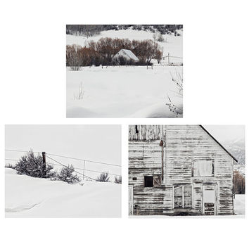 Set of 3 Winter Landscape Photographs, White Barn Photography, Farmhouse Style Decor, Rustic Wall Art, Print Collection | Save 20%