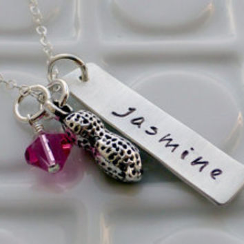 Personalized Mommy Jewelry - - My Little Peanut - - Handstamped Sterling Silver Necklace