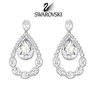 Swarovski Clear Crystal Jewelry ALMOST Pierced Earrings Rhodium #5043655