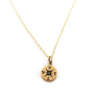 Compass Charm- Dainty 14k Gold Filled Jewelry