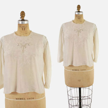 EDWARDIAN Embroidered SILK BLOUSE / 1910s Loose Cropped Top M - L