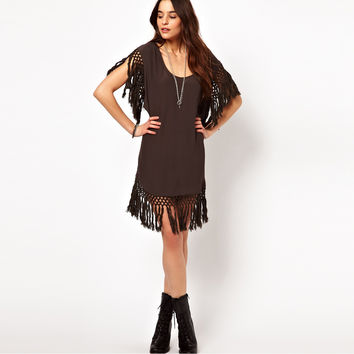 Brown Fringed Edge Dress