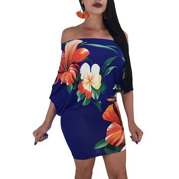 Batwing Sleeve Skew Neck Royal Blue Floral Bodycon Dress
