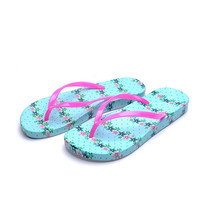 Check out the New Korean Version of Flat Flip Flop sandals for women in Casual Summer Style & Sky Blue Flower Print Design