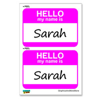 Sarah Hello My Name Is - Sheet of 2 Stickers