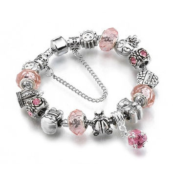 Hot Sell European Style 925 Silver Crystal Charm Bracelet for Women With Purple Murano Glass Beads DIY Jewelry SL-26 [9324871364]