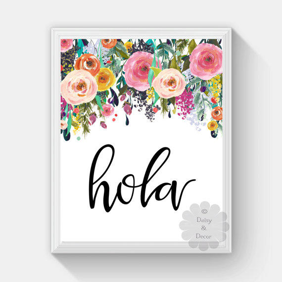 hello hola spanish saying printable wall art nursery playroom print home  decor floral wall print art quote typography poster print floral