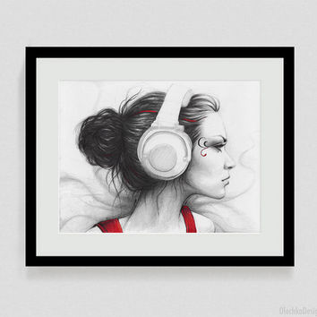 Music, Red White Black; Giclee Fine Art Print, Home Decor, 8x10