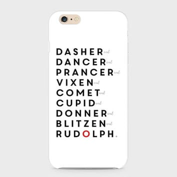 Reindeer Names iPhone 7, Samsung Galaxy, Christmas Phone Case, Rudolph iPhone Case, Phone Case, Phone Cover, Samsung S7, Holiday iPhone