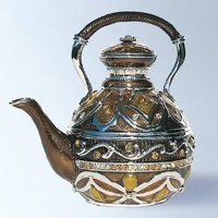 Teapot Box set with Swarovski Crystals Tea Kettle Pill Box Coffee Pot with Handle