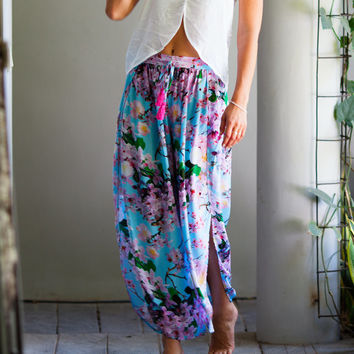 Split Leg Yoga Pants, Wide Leg Ladies Trousers - Aqua Cherry Blossom Print- Trendy Beach Pants, Harem Pants, Floral Palazzo Pant