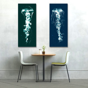 "Jellyfish, Canvas Print, set of prints, 18x32"", art print, giclee, nature art print, naturalist, animal painting, ink drawing, sea life art"
