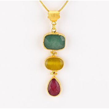 Triple Drop Stones Pendant Necklace
